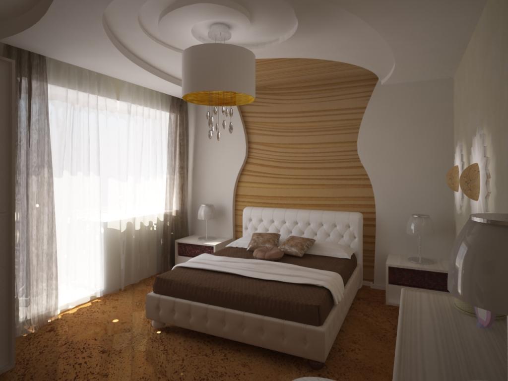 Водяной матрас на бежевой кровати