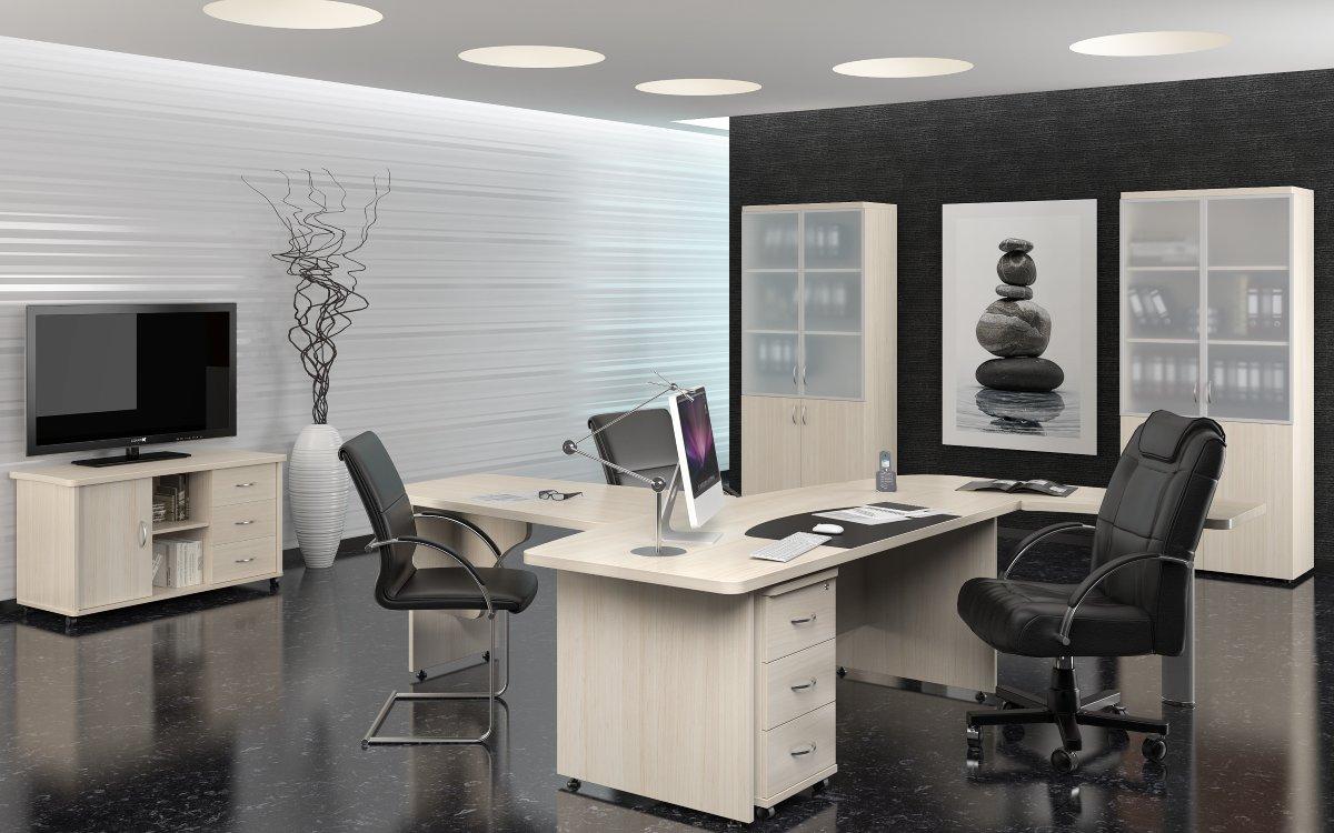 Белая мебель в кабинете директора