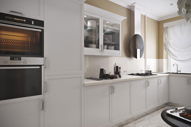 Прямой кухонный гарнитур белого цвета