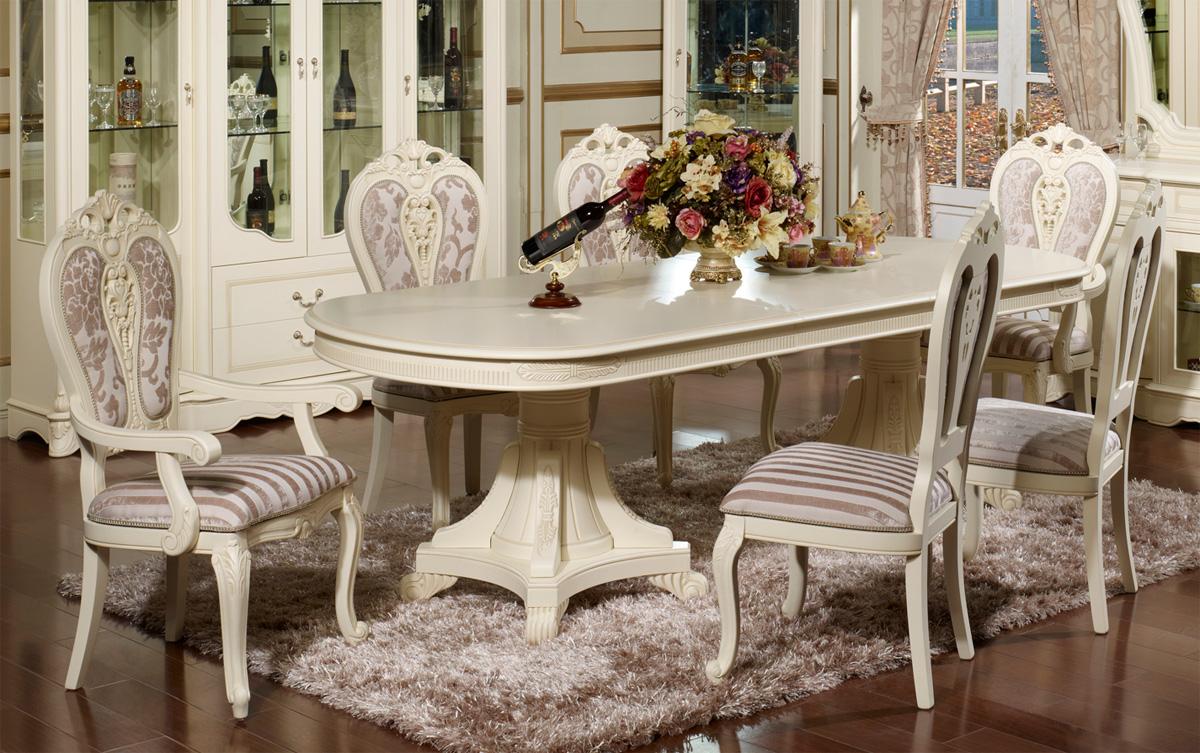 Столовый гарнитур из белого дерева