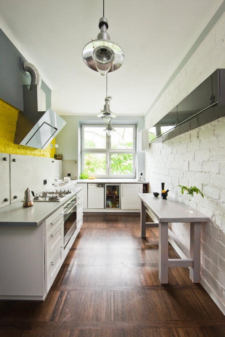 Кухня под белый кирпич