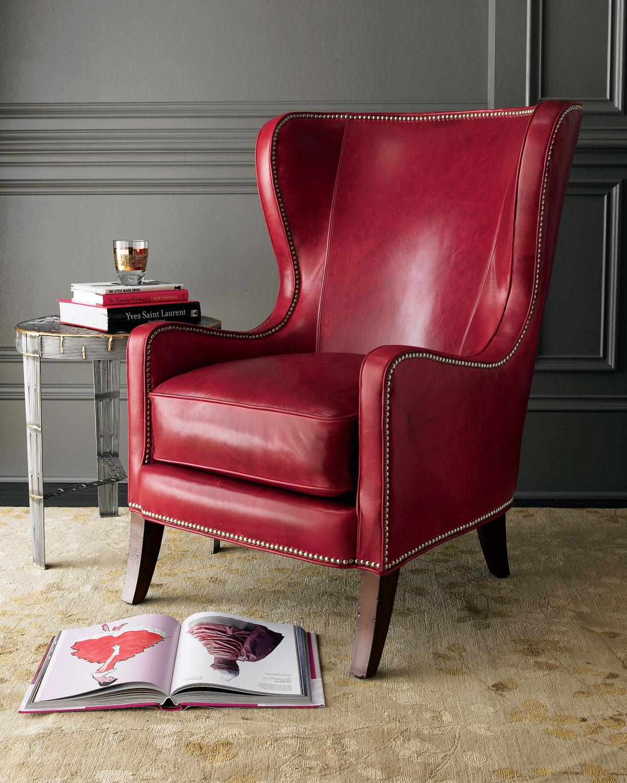 Бордовое кожаное кресло