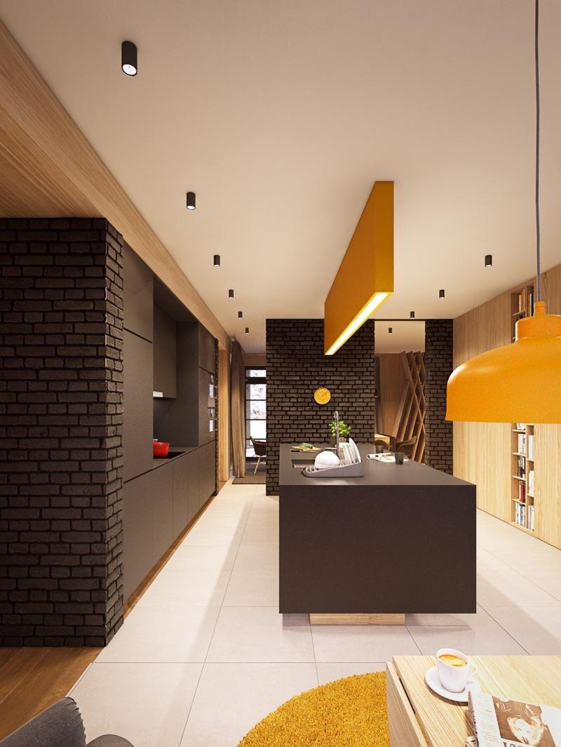 Кухня под черный кирпич