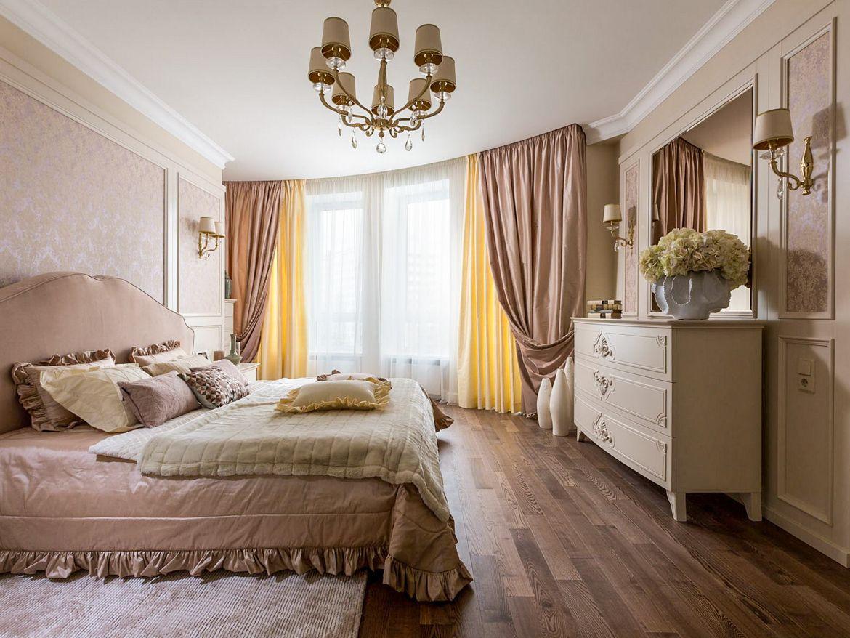 Шторы в классическом интерьере спальни