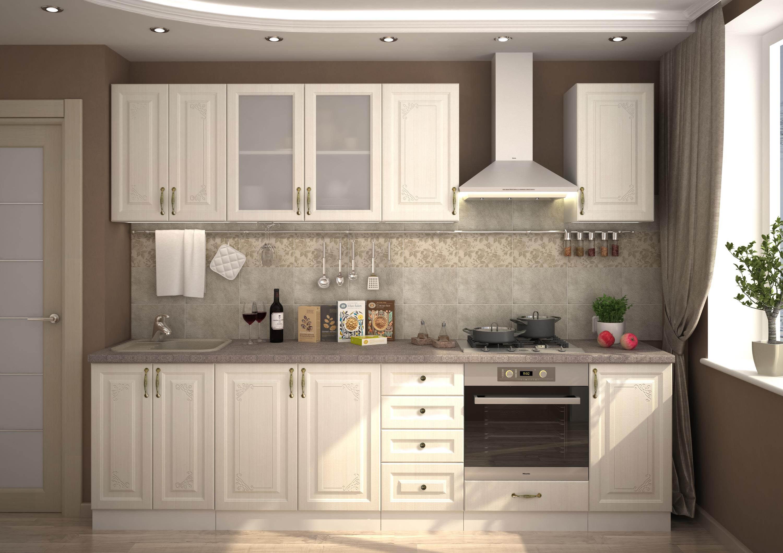 Прямой кухонный гарнитур в классическом стиле