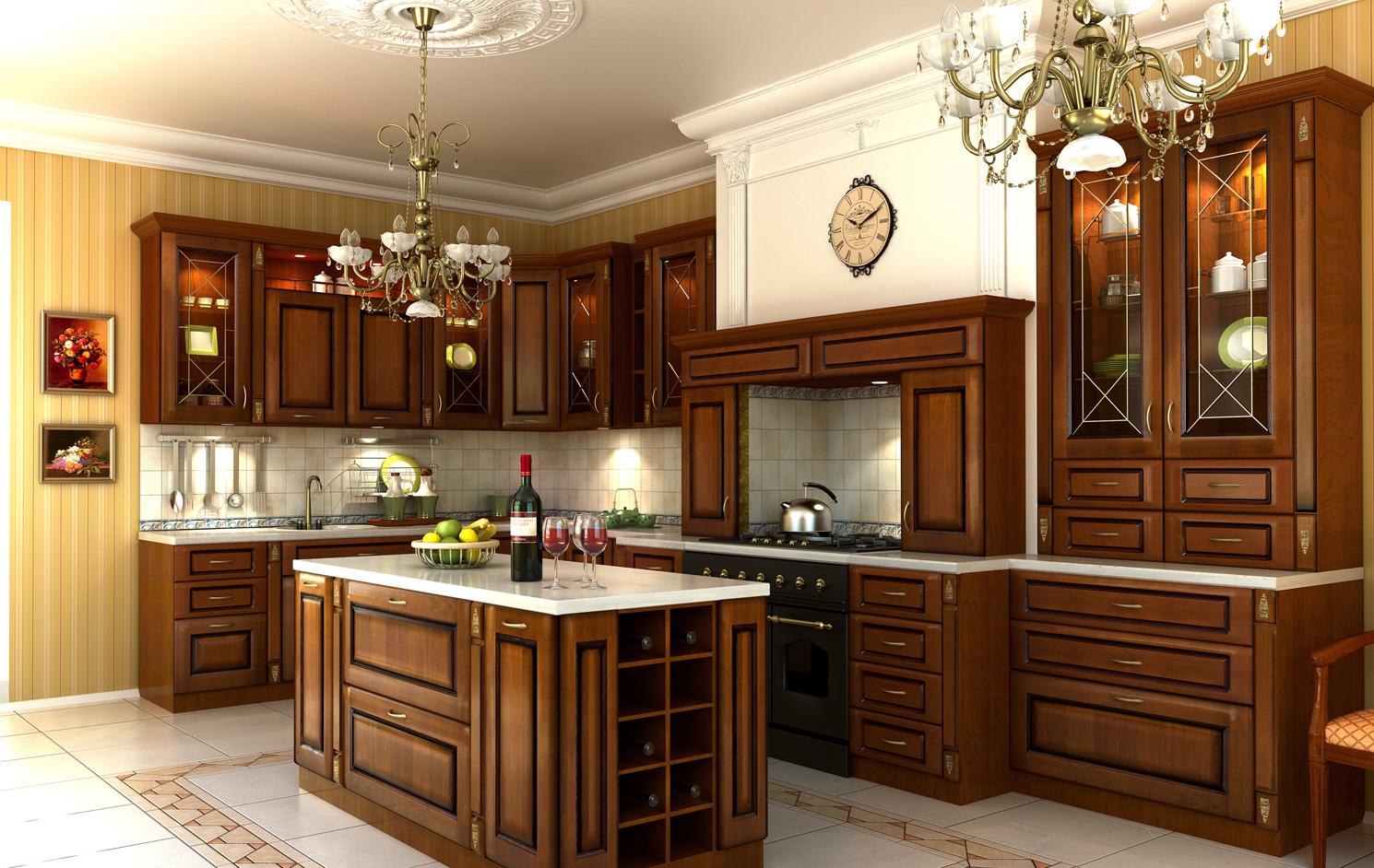 Кухня из массива дерева в классическом стиле
