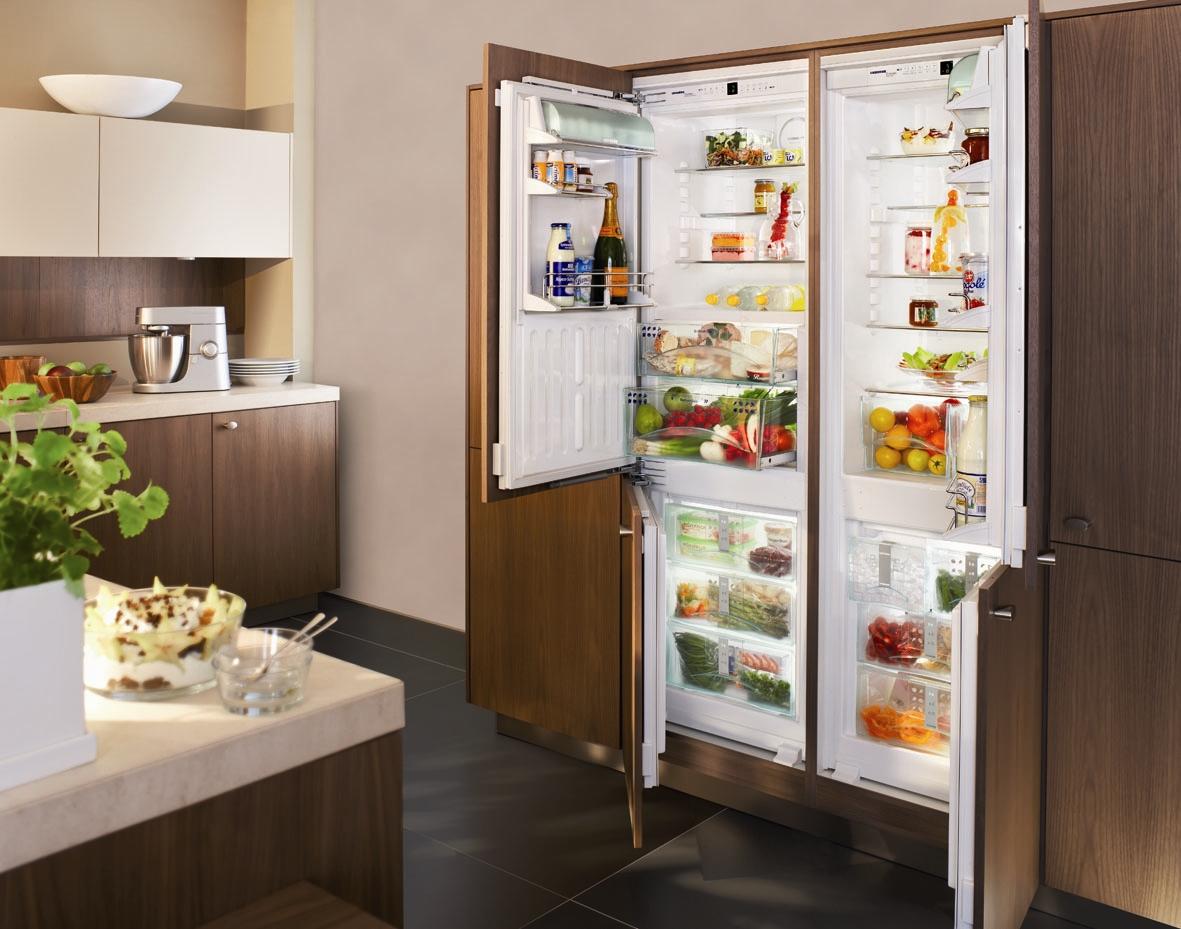 Двухдверный холодильник с деревянными панелями
