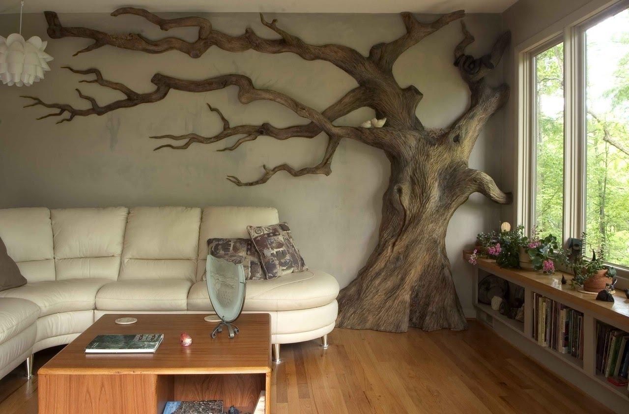 Дерево в декоре гостиной