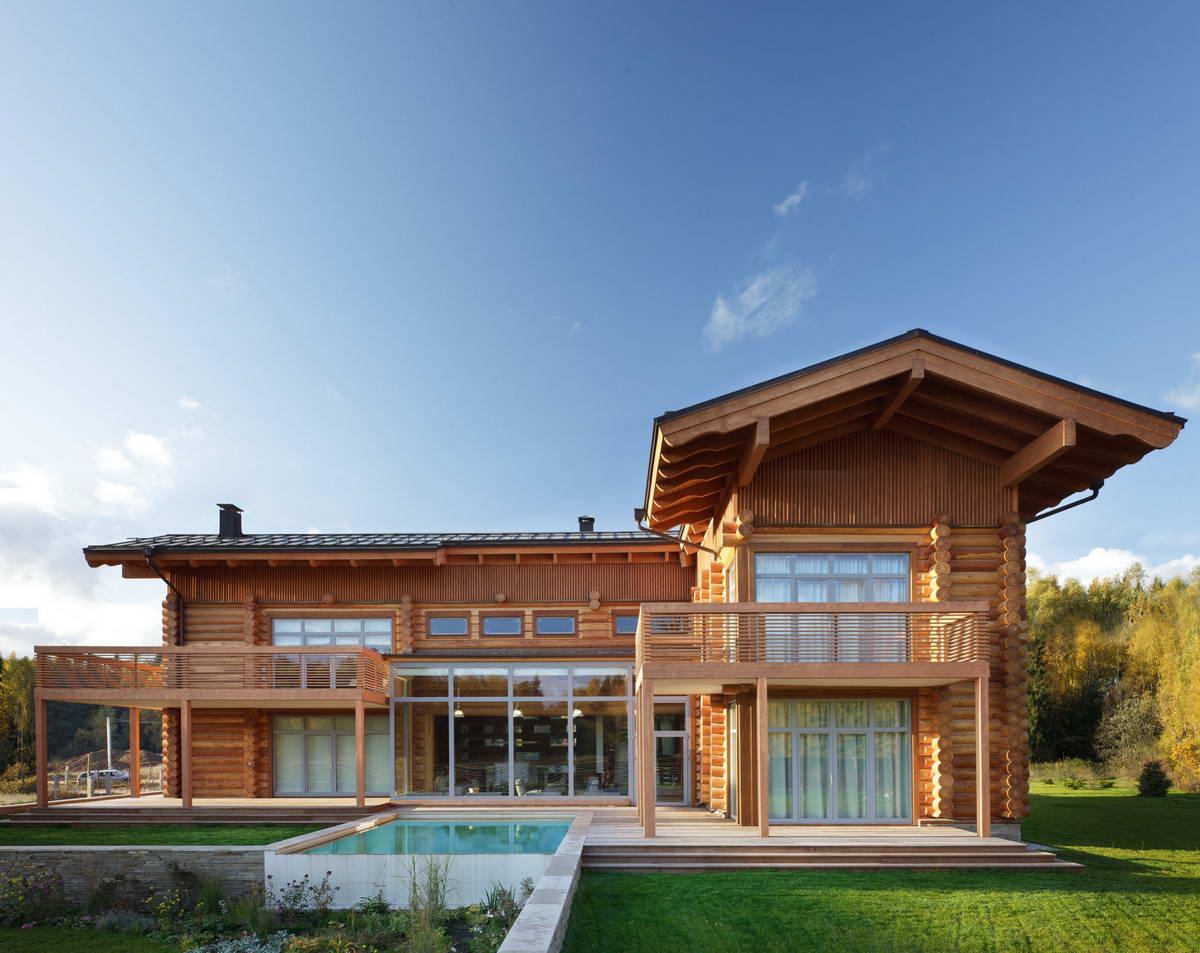 Деревянный дом под русский стиль