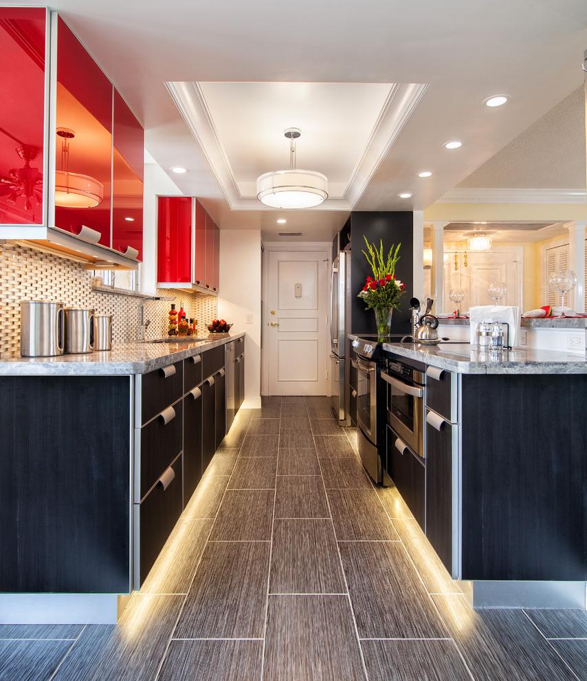 Светодиодная подсветка пола на кухне