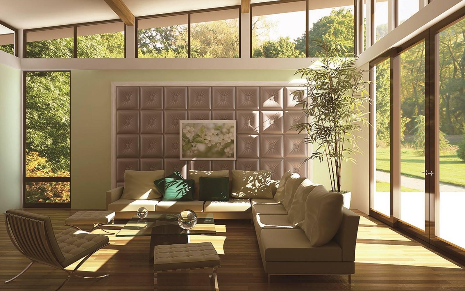 Стеновые панели в интерьере загородного дома