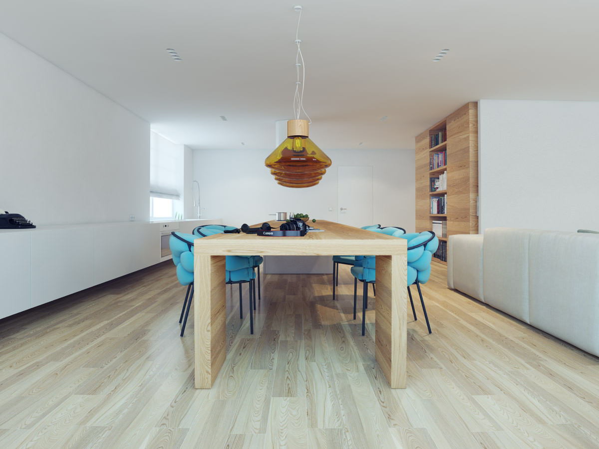 Кухня без навесных шкафов в загородном доме