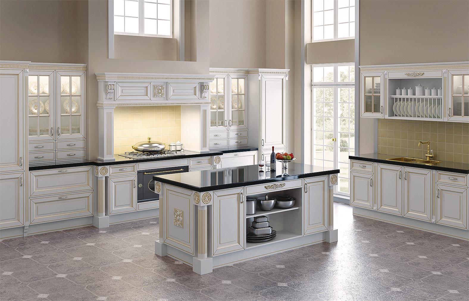 Классический кухонный гарнитур в загородном доме