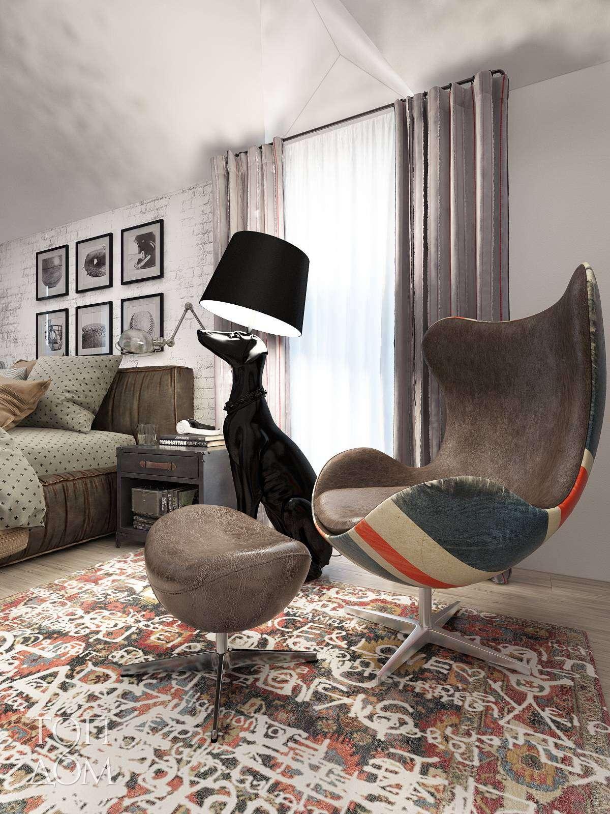 Фигурное кожаное кресло