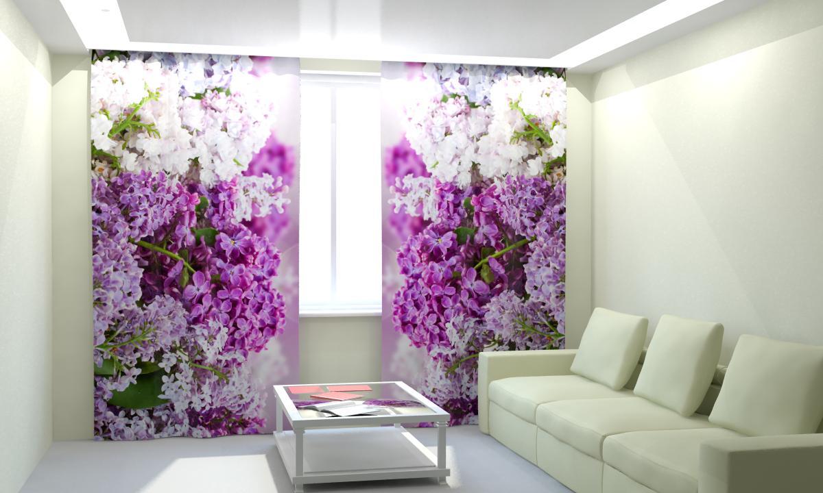 Фиолетовые шторы с фотопринтом