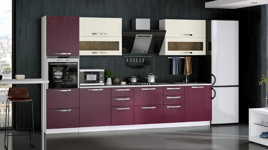 Прямой кухонный гарнитур фиолетового цвета