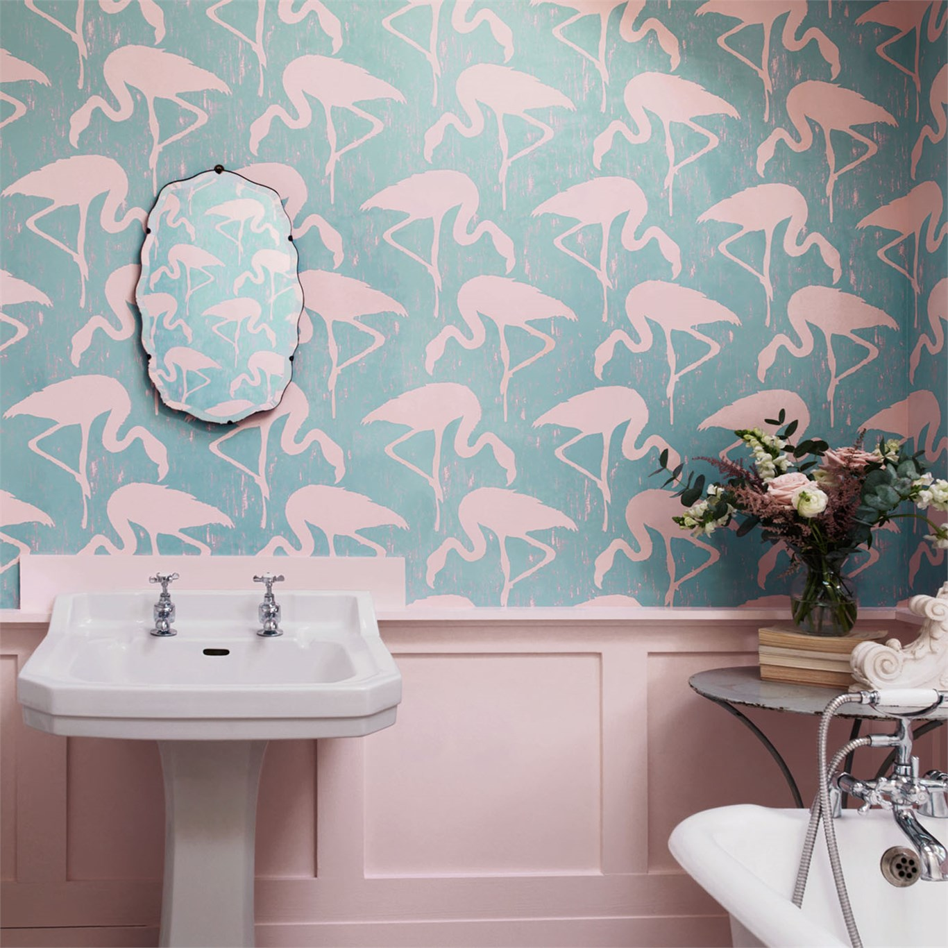 Бирюзовые обои с фламинго
