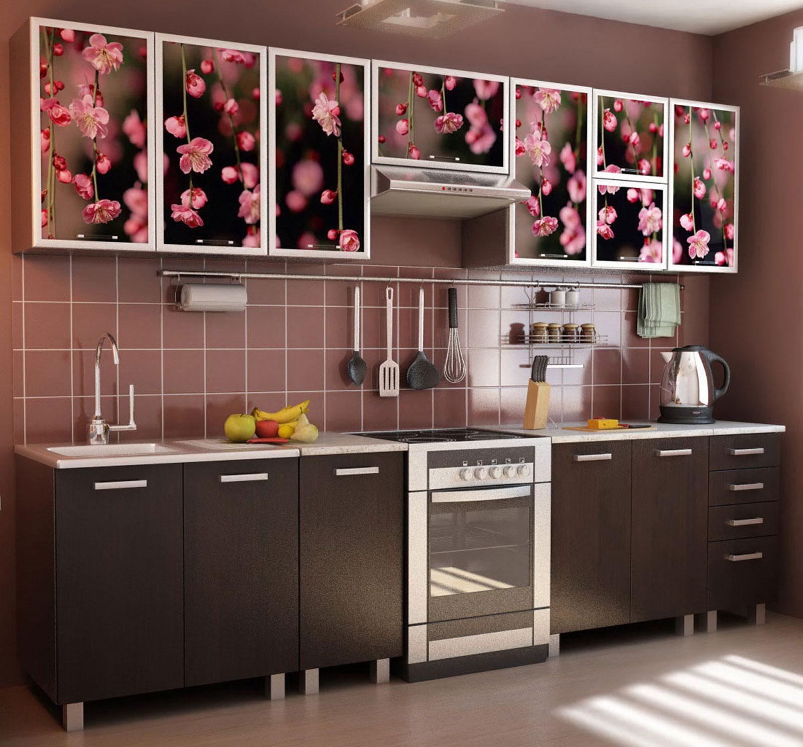 Прямой кухонный гарнитур с фотопринтом