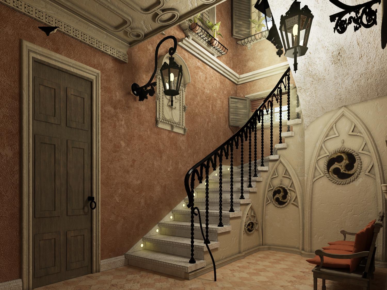 Маршевая лестница в готическом стиле