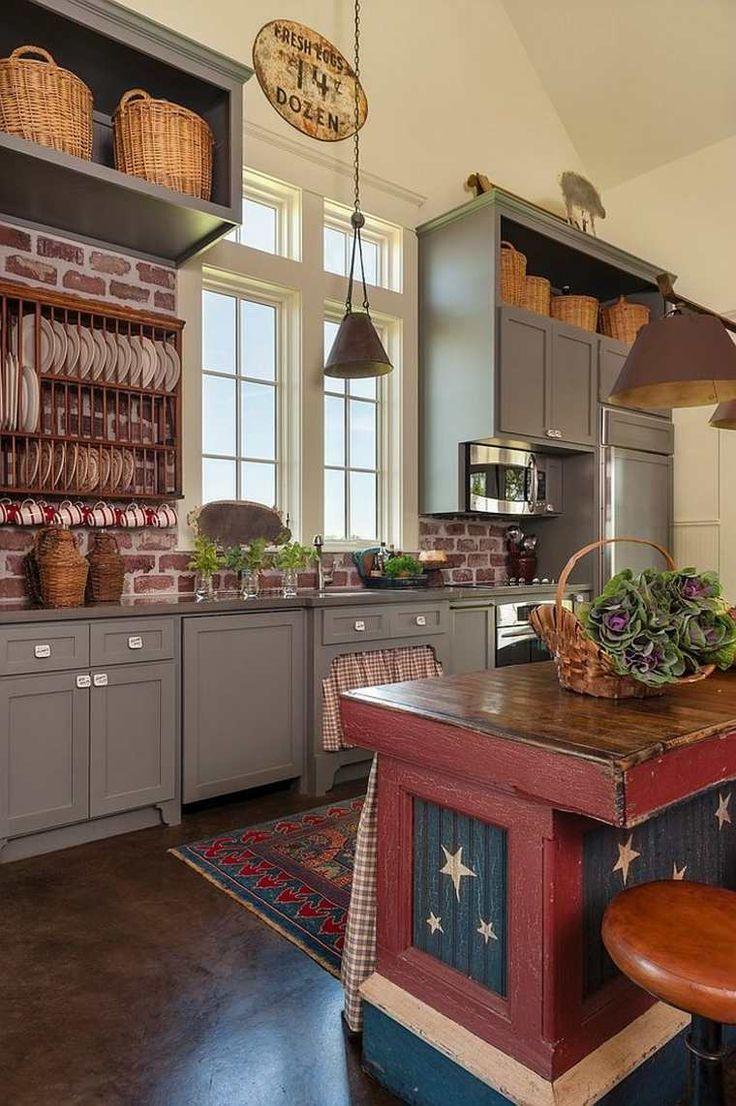 Кухня под кирпич в стиле кантри