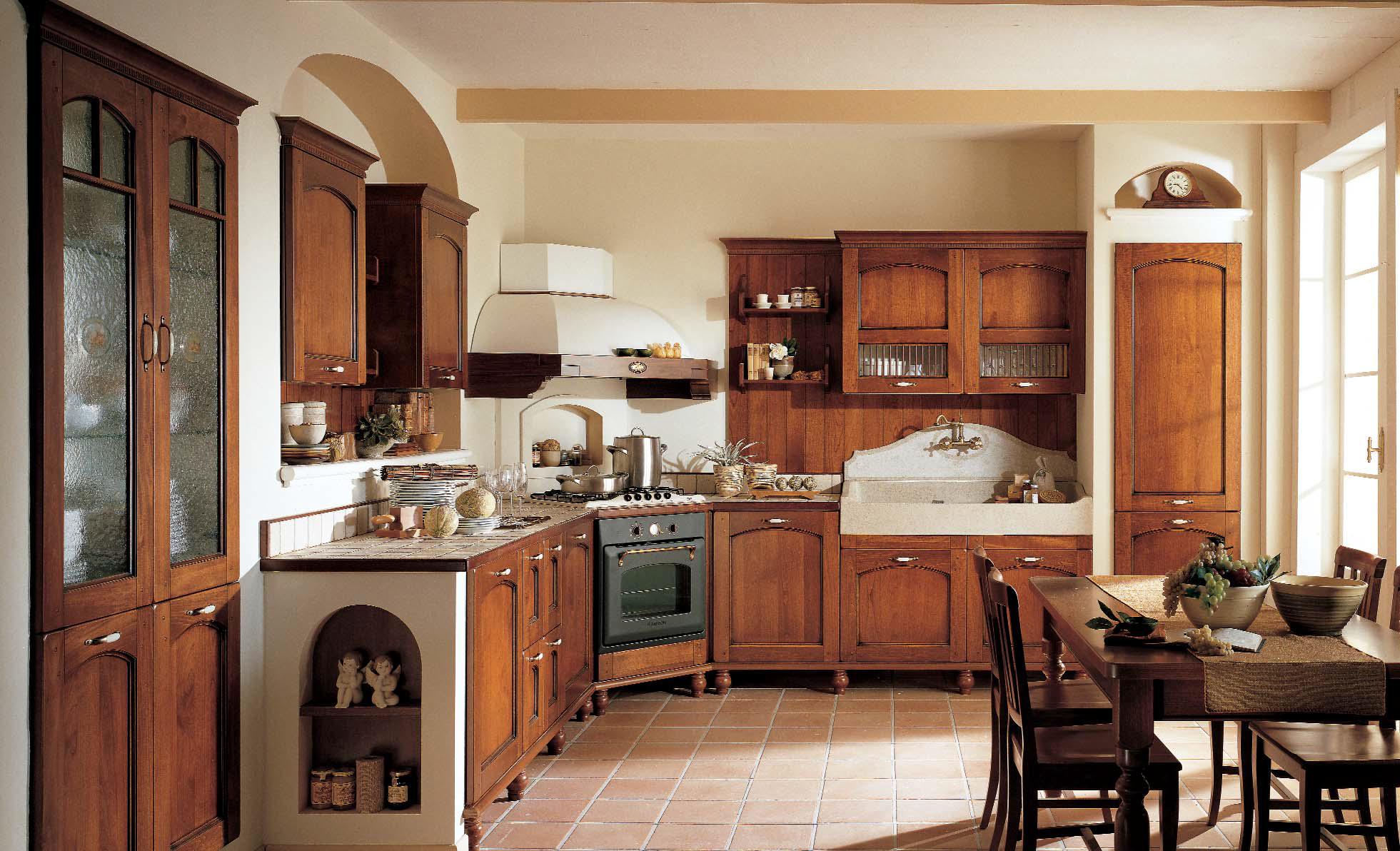 Угловая вытяжка на кухне в стиле кантри