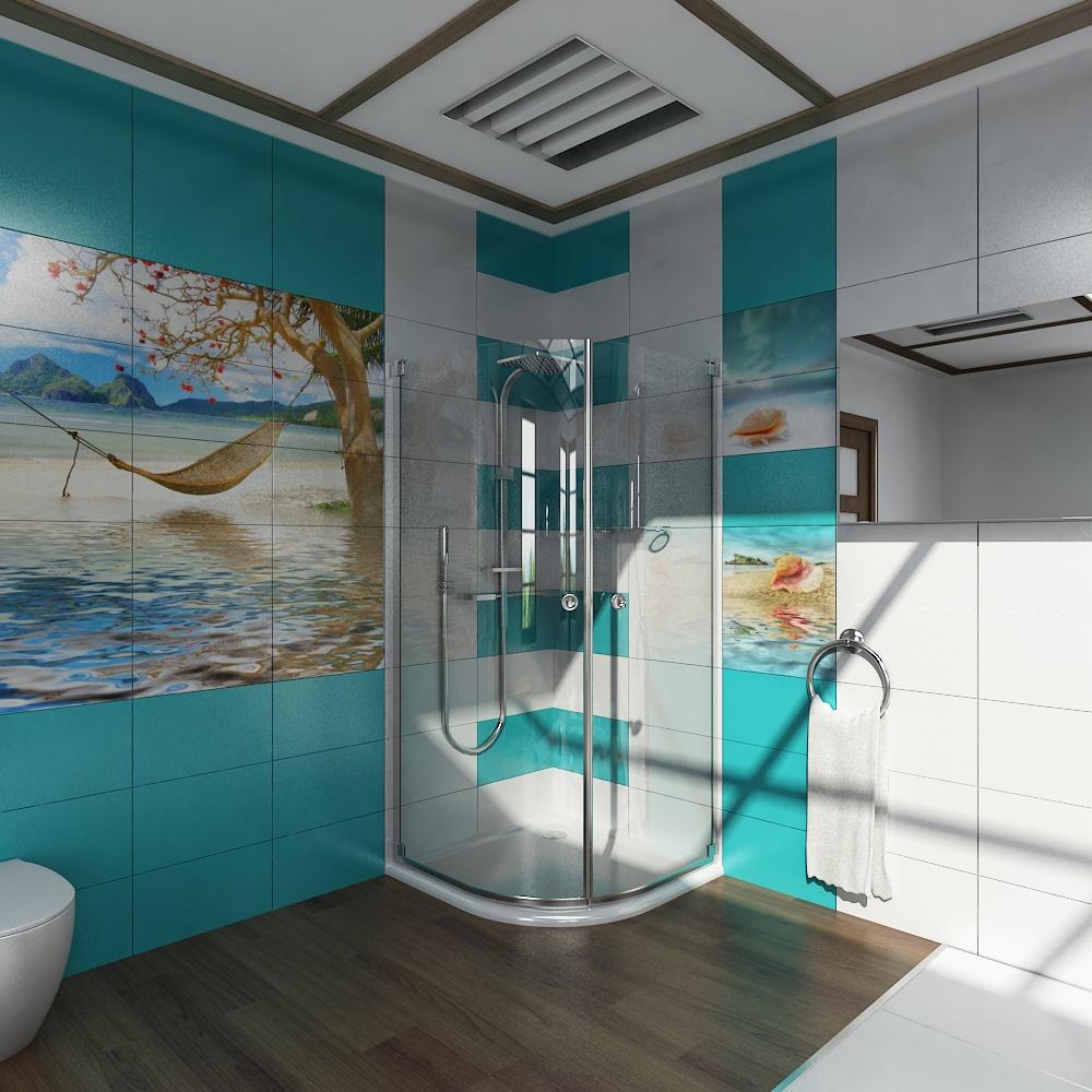 Картина из фотоплитки в ванной