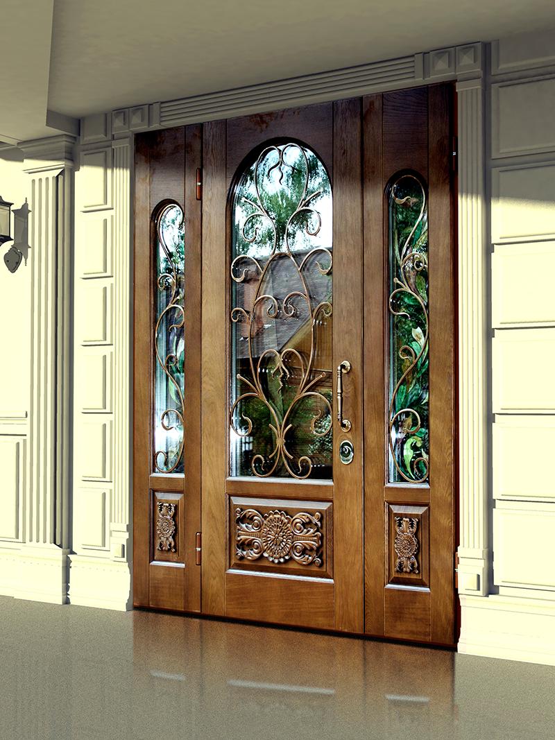Зеркальная входная дверь с кованым дизайном