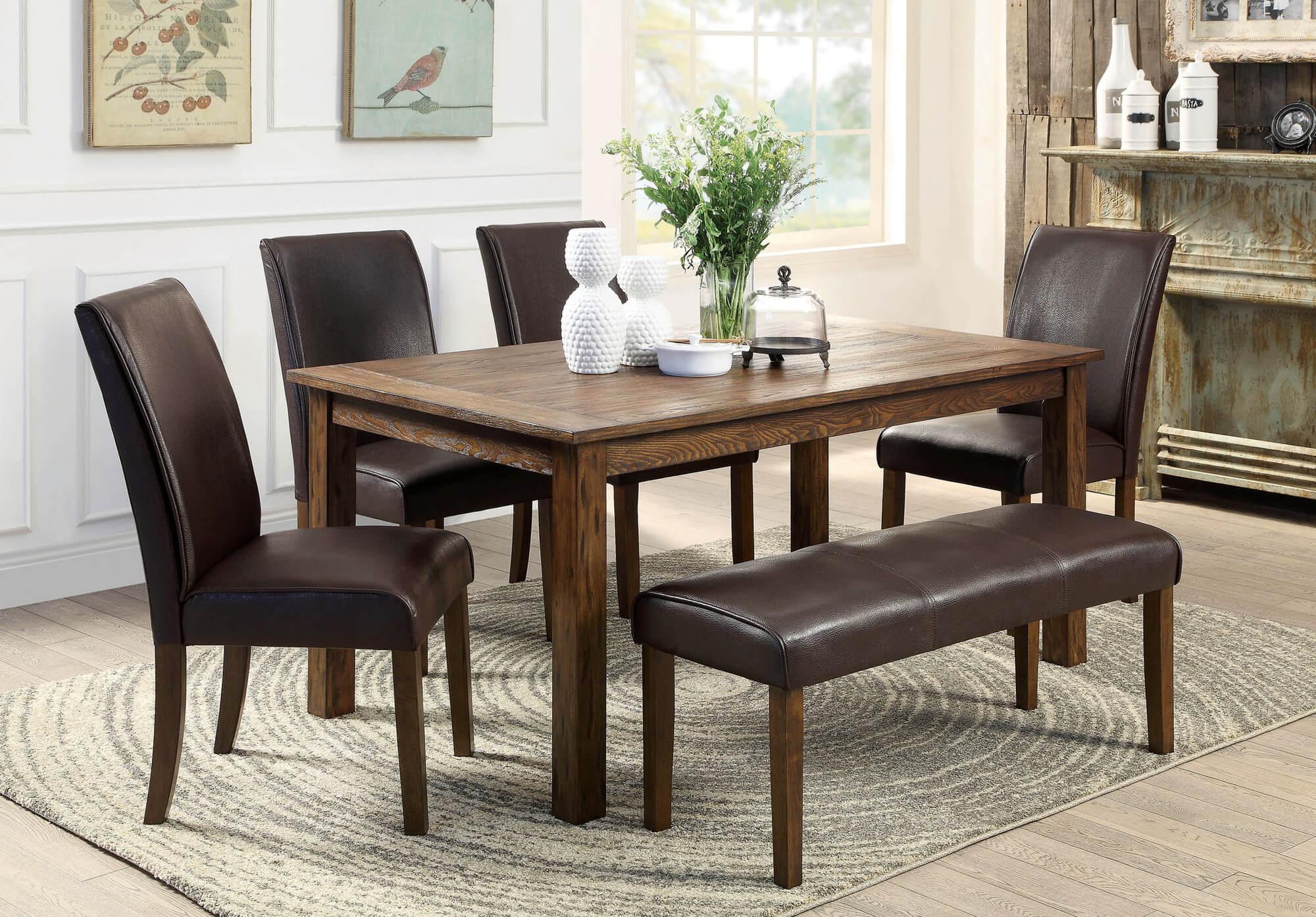 Столовый гарнитур со стульями из кожи