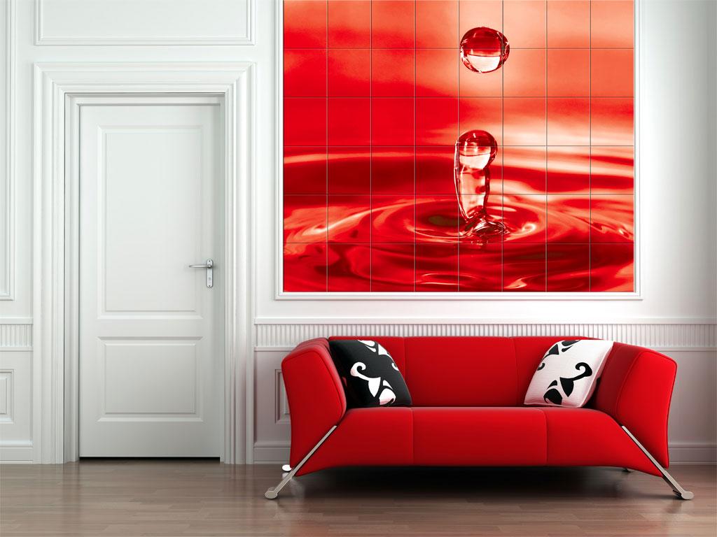 Красная фотоплитка в интерьере