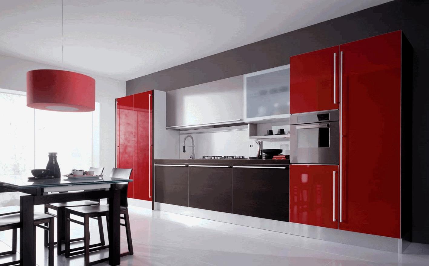Прямой кухонный гарнитур красного цвета