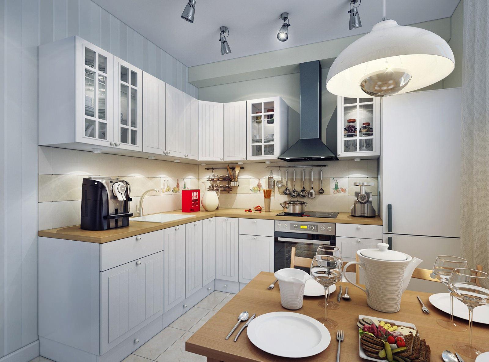 Потолочный светильник в интерьере кухни
