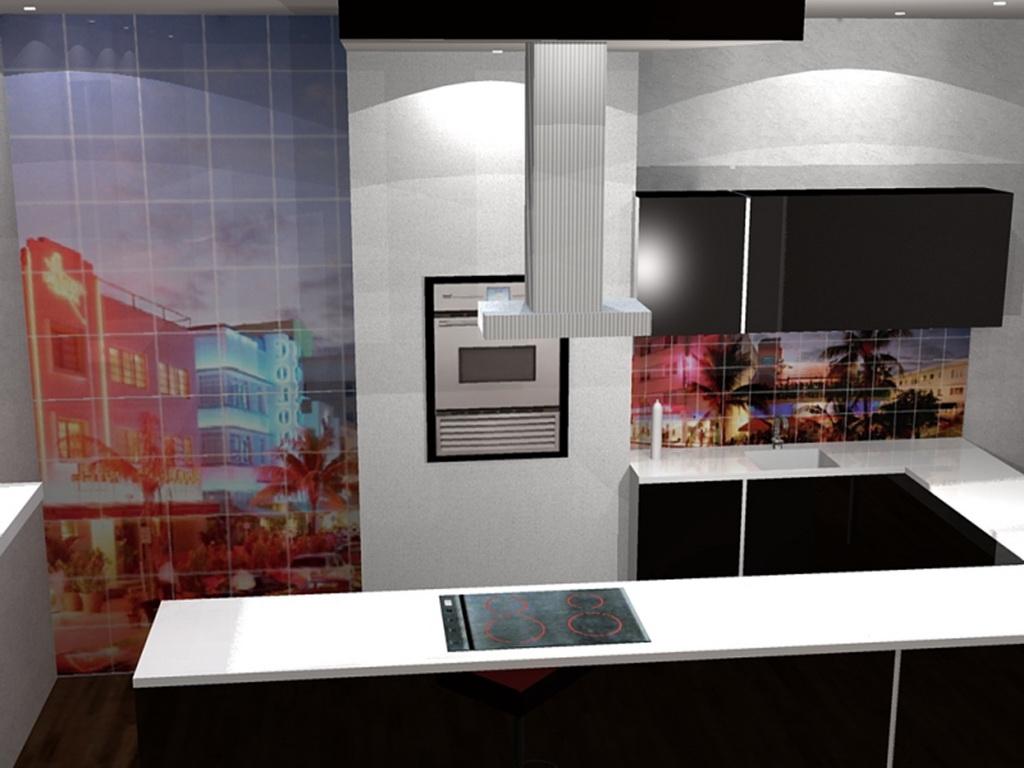 Фотоплитка в интерьере кухни