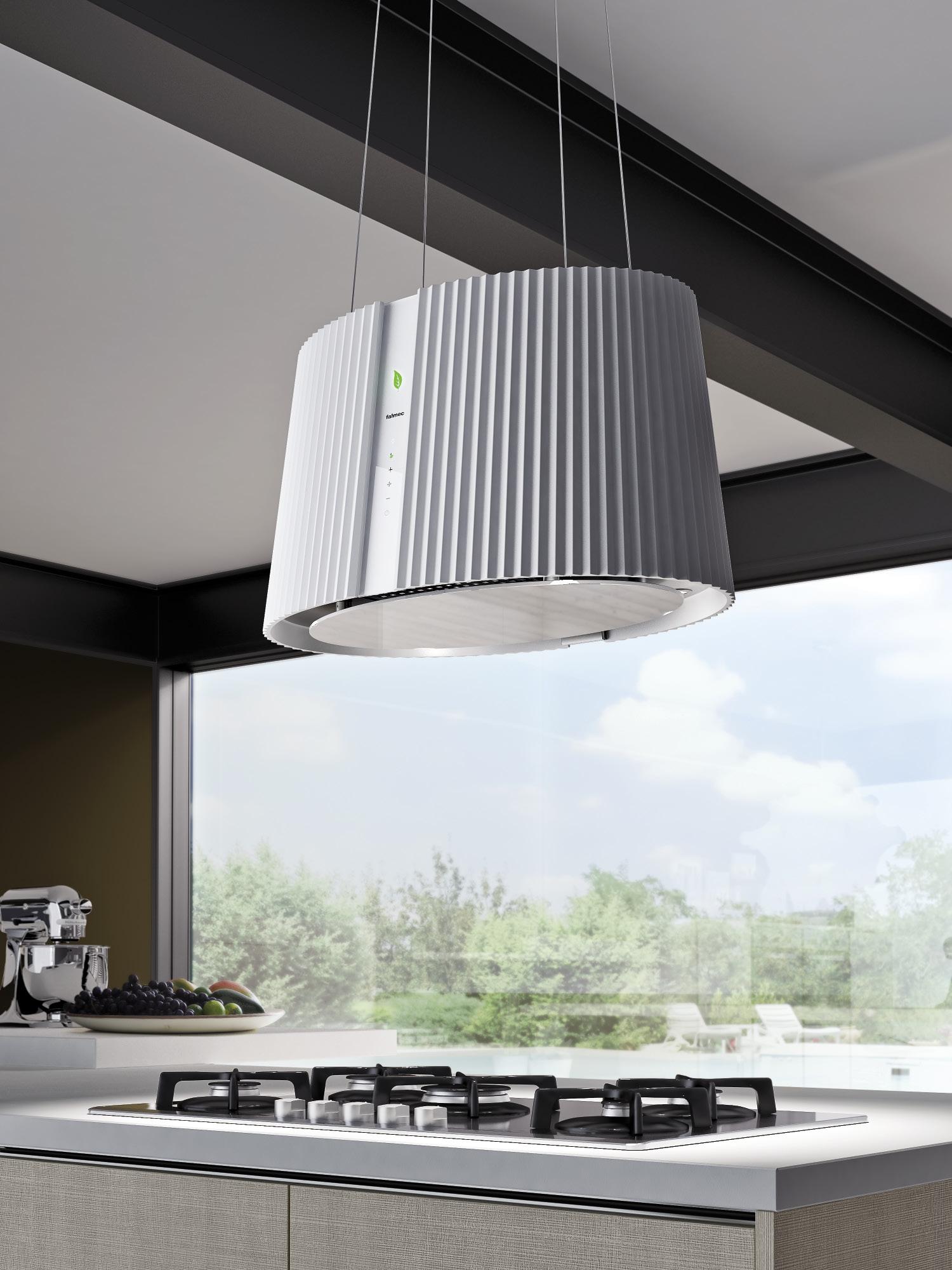Островная вытяжка в виде лампы на кухне