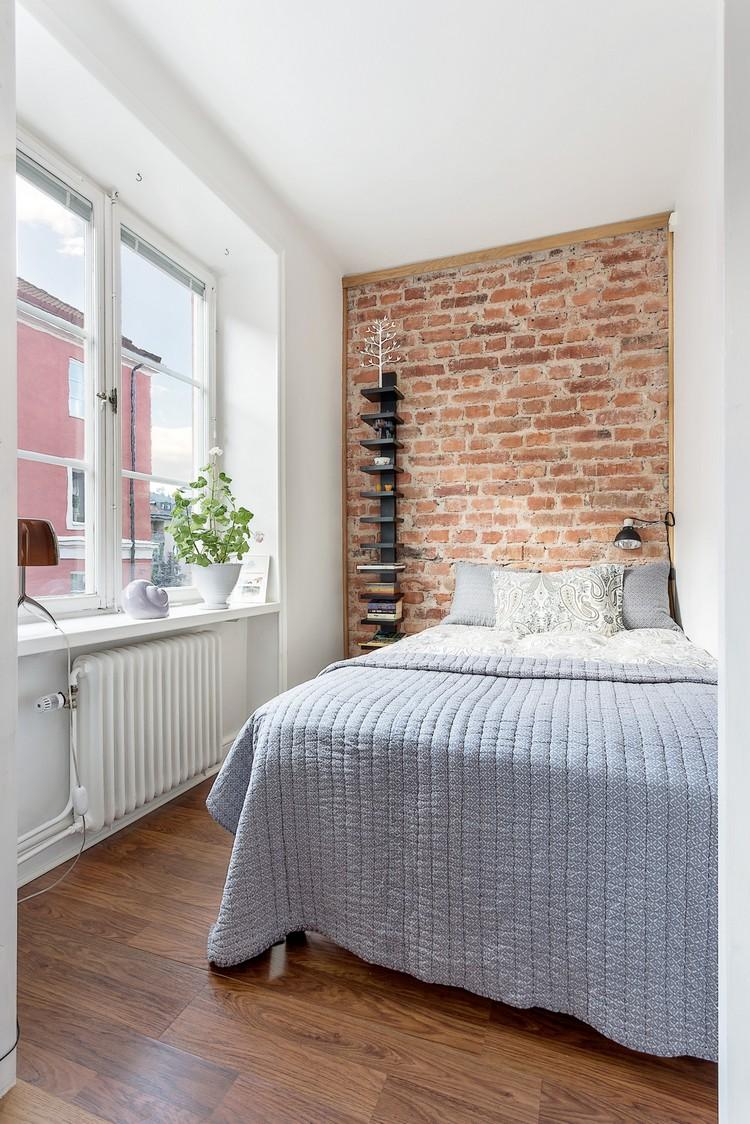 Дизайн узкой спальни в стиле лофт