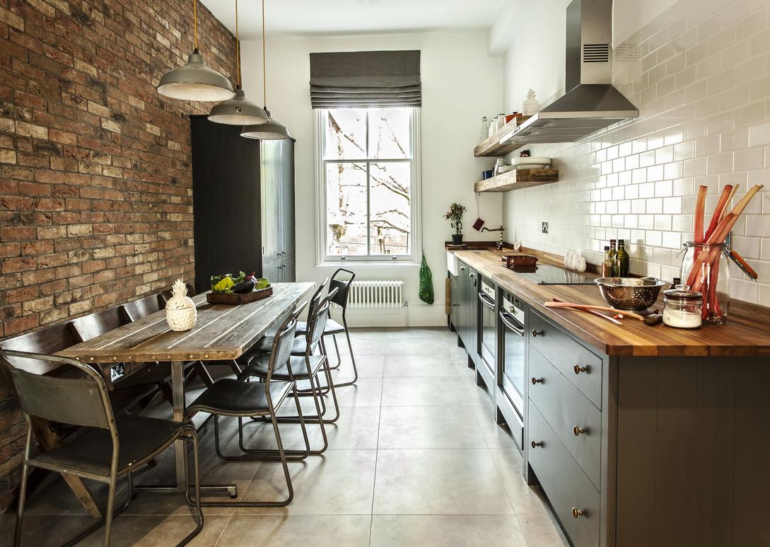 Кирпич на кухне в стиле лофт