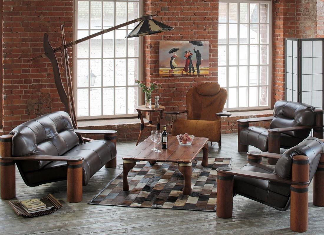 Кожаное кресло в стиле лофт