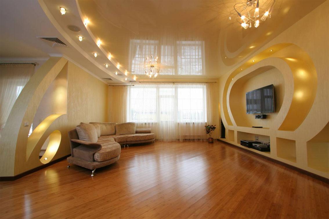 Люстры со светодиодными лампами в гостиной