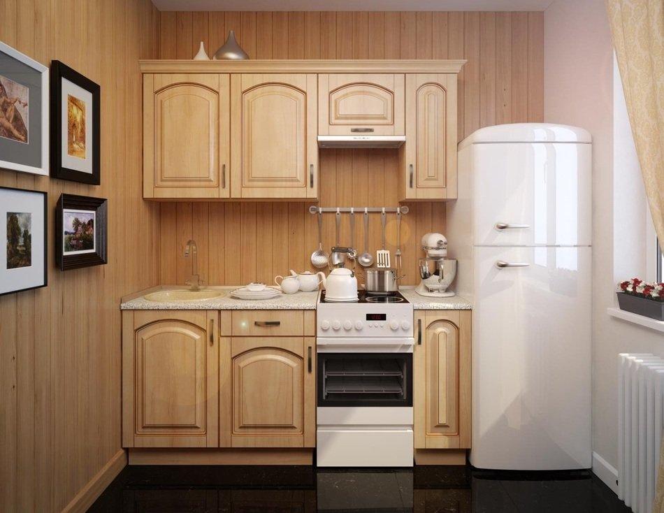 Прямой гарнитур на маленькой кухне