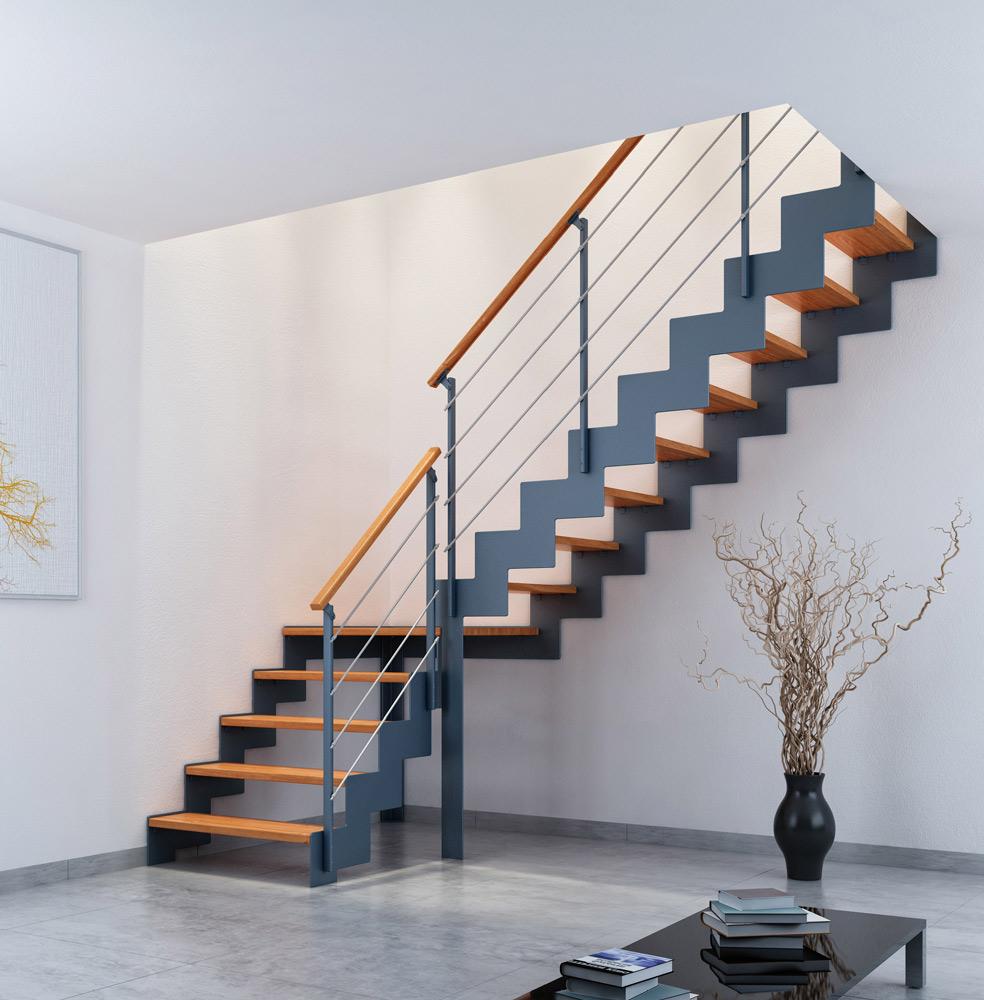 Лестница на второй этаж на металлическом каркасе маршевая