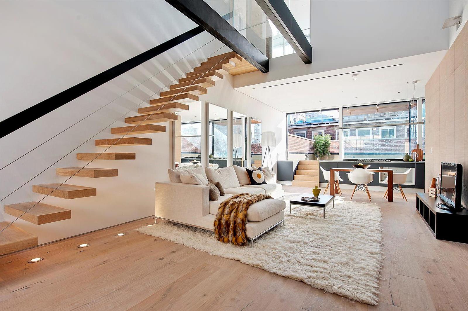 Лестница на больцах в минималистском стиле