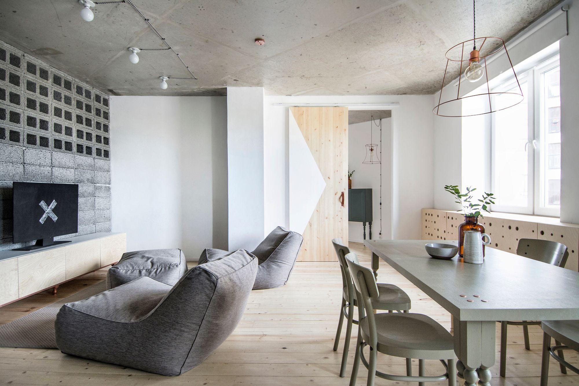 Бескаркасная мебель в минималистском интерьере