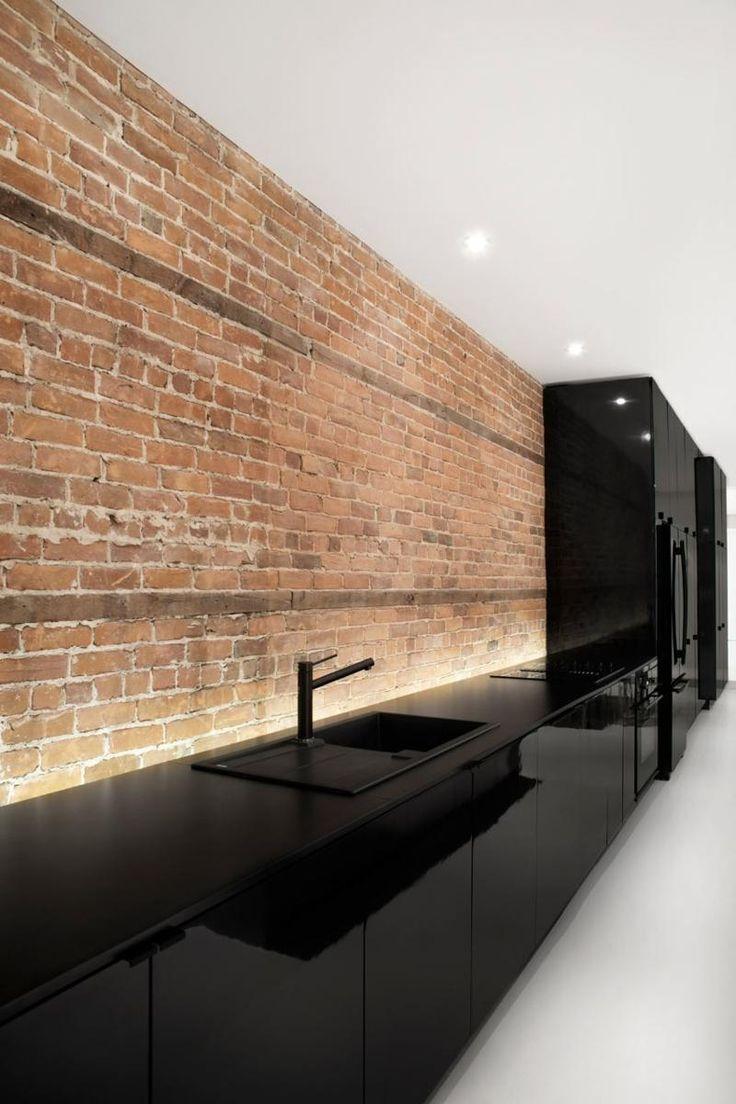 Кухня под кирпич в стиле минимализм