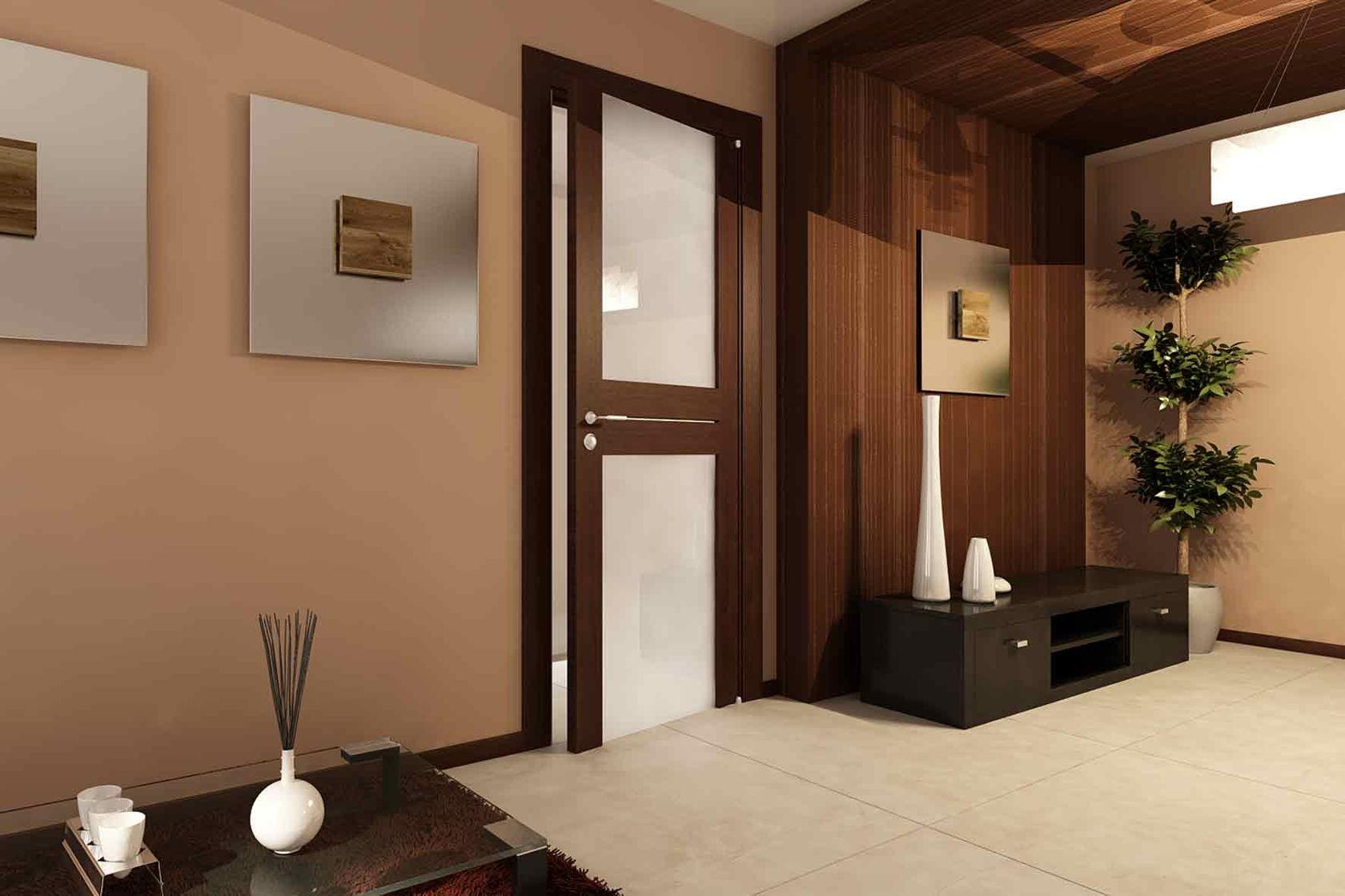 Дверь со стеклом в минималистском стиле