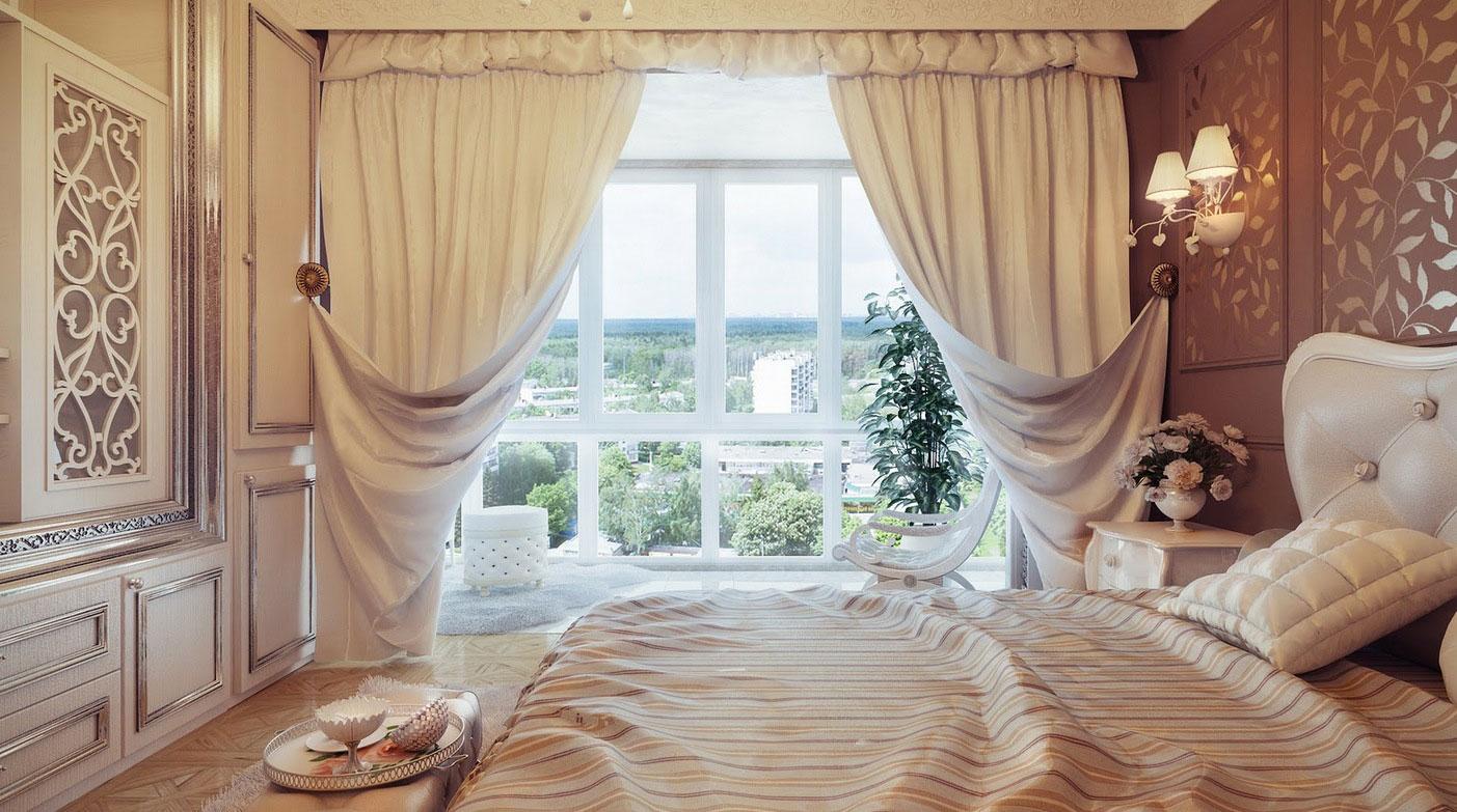 Шторы в спальне в стиле модерн