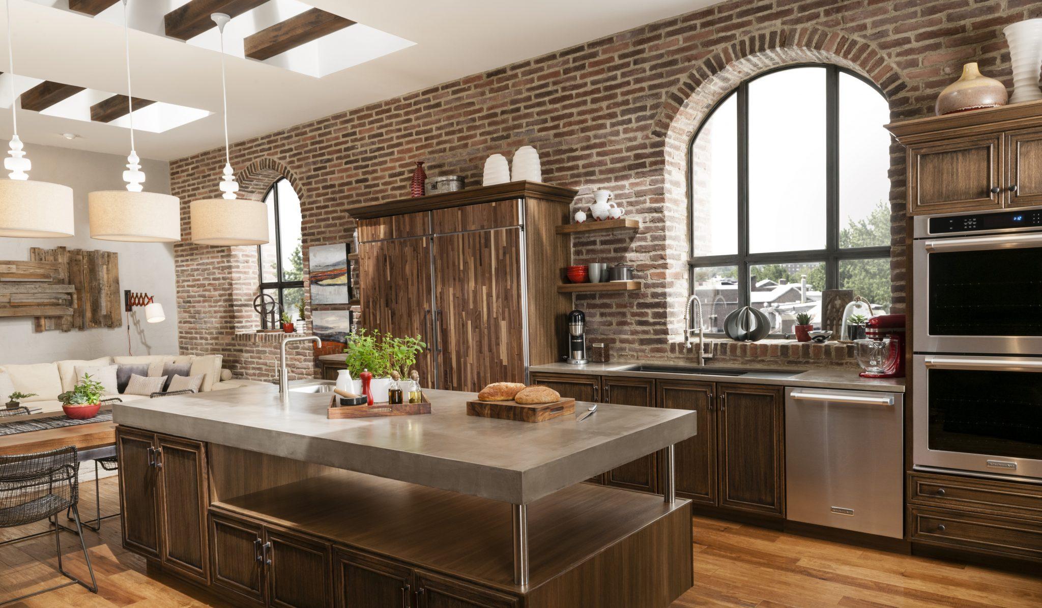 Кухня под кирпич в стиле модерн