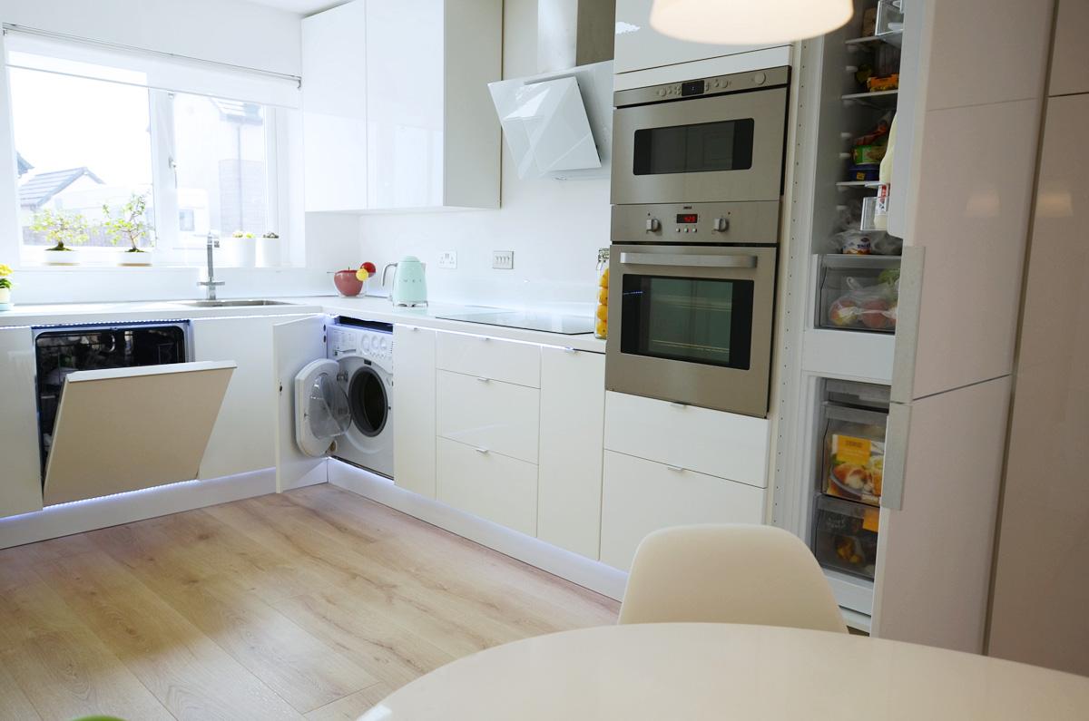 Стиральная машинка на кухне модульной