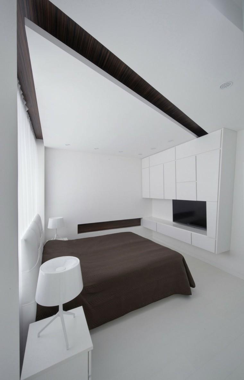 Расстановка мебели в спальне в монохромном дизайне