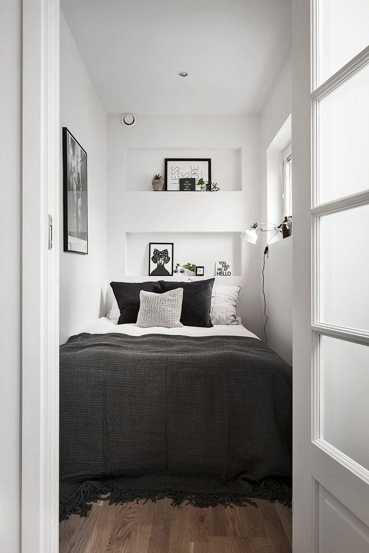Монохромный дизайн узкой спальни