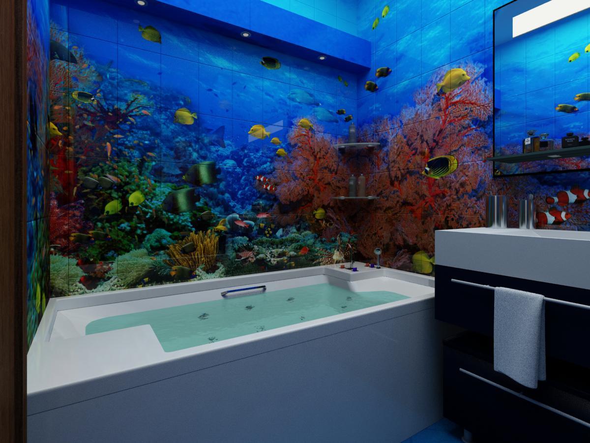 Фотоплитка с изображением моря в ванной