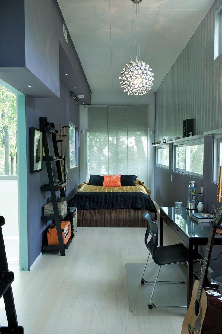 Мужской дизайн узкой спальни
